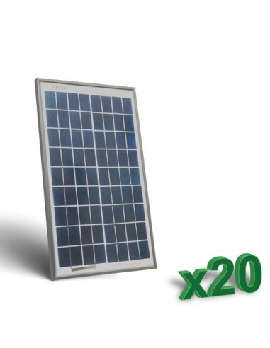 20 x 10W 12 Photovoltaic Solar Panels Set tot. 200W Camper Boat Hut