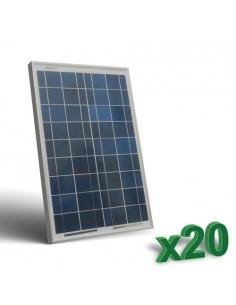 Set 20 x Pannelli Solari Fotovoltaico 20W 12V tot. 400W Camper Barca Baita