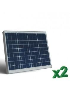Set 2 x 50W 12V Panneau Solaire Photovoltaique tot. 100W Camper Bateau Hutte