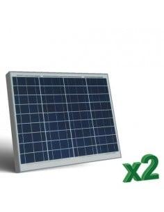 Set 2 x Pannelli Solari Fotovoltaico 50W 12V tot. 100W Camper Barca Baita