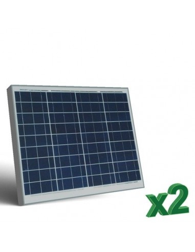2 x 50W 12 Photovoltaic Solar Panels Set tot. 100W Camper Boat Hut