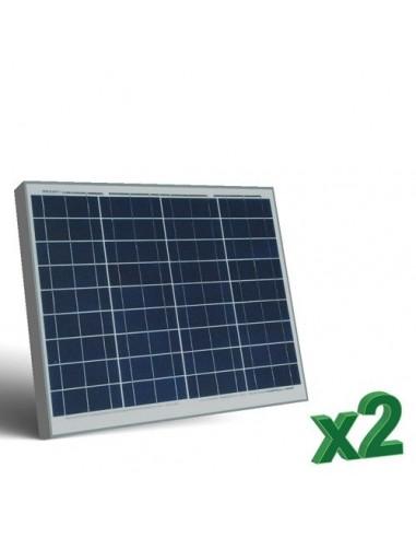 2 x 50W 12 Photovoltaic Solar Panels Set tot. 100W Camper Boat Hut