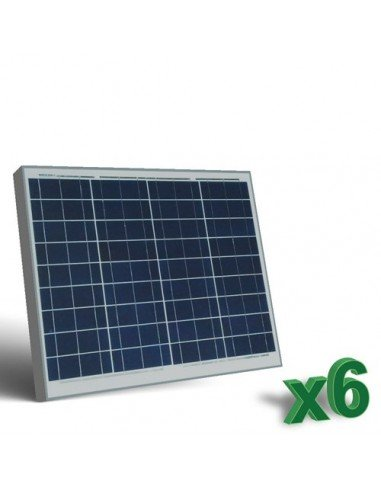 Set 6 x Pannelli Solari Fotovoltaici 50W 12V tot. 300W Camper Barca Baita