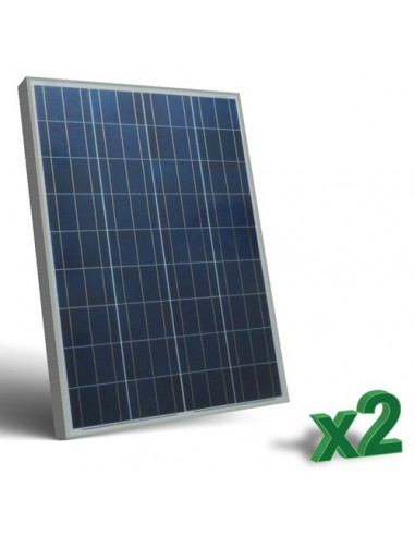 Set 2 x 100W 12 Panneau Solaire Photovoltaique tot. 200W Camper Bateau Hutte