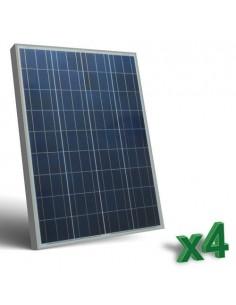 Set 4 x 100W 12V Panneau Solaire Photovoltaique tot. 400W Camper Bateau Hutte