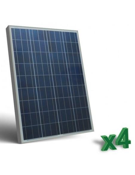Set 4 x 100W 12 Panneau Solaire Photovoltaique tot. 400W Camper Bateau Hutte