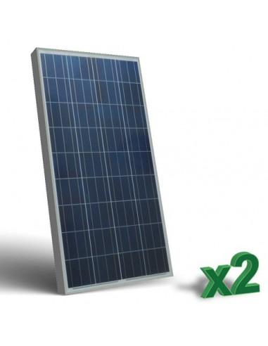 Set 2 x 150W 12 Panneau Solaire Photovoltaique tot. 300W Camper Bateau Hutte