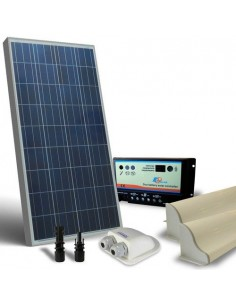 Kit Solare Camper 130W 12V Base Pannello Fotovoltaico, Regolatore, Accessori