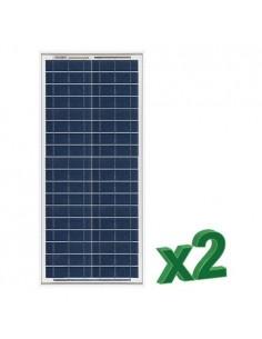 Set 2 x 30W 12V Panneau Solaire Photovoltaique tot. 60W Camper Bateau Hutte
