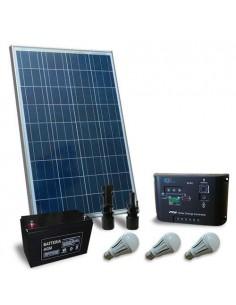Kit Solare Illuminazione LED 100W 12V per Interni Fotovoltaico Stand-Alone Isola