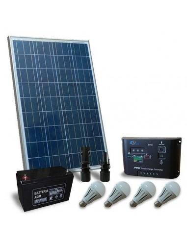 Kit Solare Illuminazione LED 130W 12V per Interni, Fotovoltaico, Stand-Alone