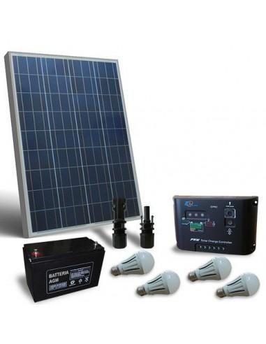 Kit d'eclairage solaire LED 80W 12V pour Interieur, Photovoltaique, Stand-Alone