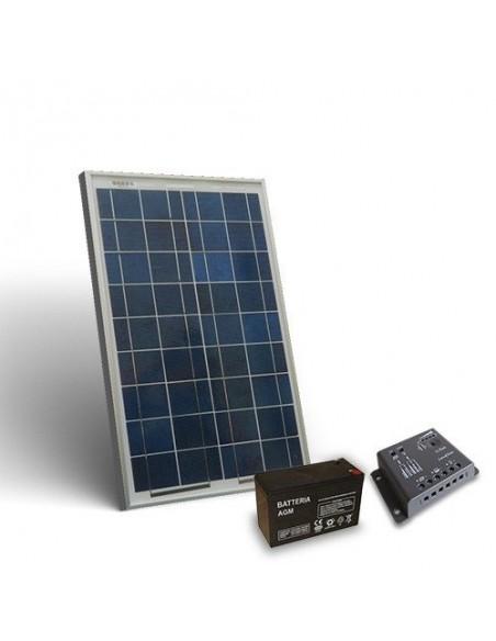 Kit Solare Pro 10W 12V Pannello Fotovoltaico Regolatore 5A-PWM 1xBatteria 7Ah
