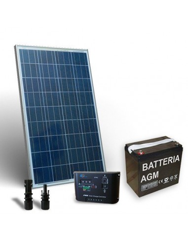 Kit Solare Pro 130W 12V Pannello Fotovoltaico Regolatore 10A-PWM 1xBatteria 80Ah