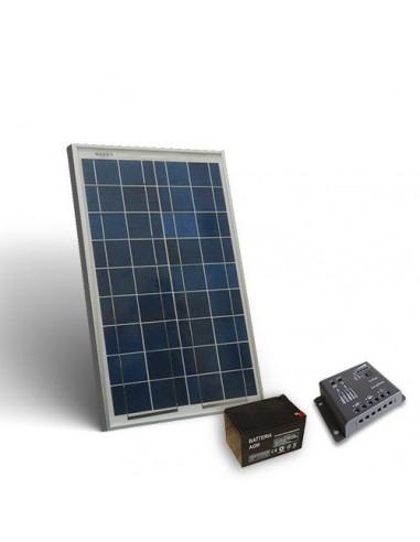 Kit Solare Pro 20W 12V Pannello Fotovoltaico Regolatore 5A-PWM 1xBatteria 12Ah
