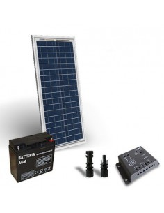 30W 12V Solar-Kit pro Solarmodul Panel Laderegler 5A-PWM 1xAkkumulator 18Ah 12V