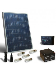 Kit Solar Votiv 80W 12V, Photovoltaik-Panel, Batterie, Laderegler, LED