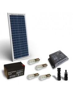 Kit Solaire Votif 30W 12V, Panneau Solaire, Batterie, Regulateur de charge, LED