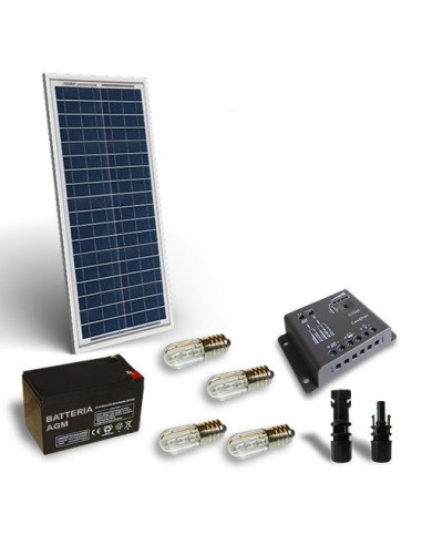 Kit Solar Votiv 30W 12V, Photovoltaik-Panel, Batterie, Laderegler, LED