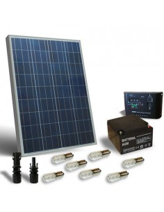 Solar Kit Votive 100W 12V, Photovoltaic Panel, Battery, Charger Controller, LED