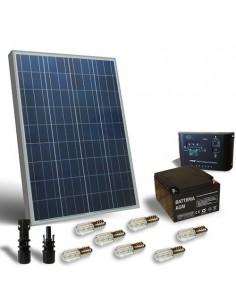 Kit Solare Votivo 100W 12V Pannello Solare, Batteria, Regolatore di carica, LED