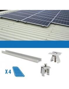 Kit Fissaggio per 4 Pannello Solare Fotovoltaico da 250W 1Kw Lamiera Grecata
