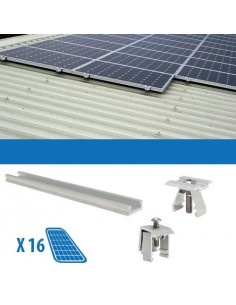 Kit Fissaggio per 16 Pannello Solare Fotovoltaico da 250W 4Kw Lamiera Grecata