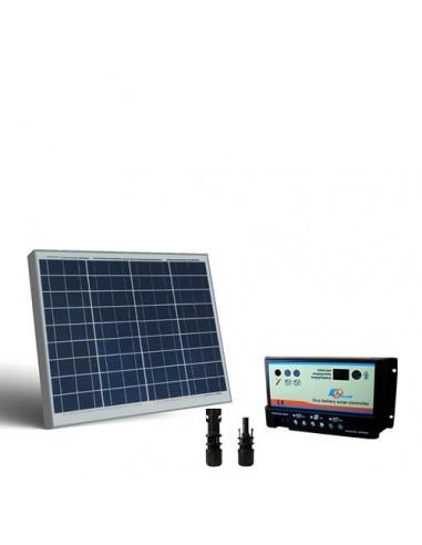 Kit Solare Camper 50W 12V Light Pannello Fotovoltaico Regolatore Doppia Batteria