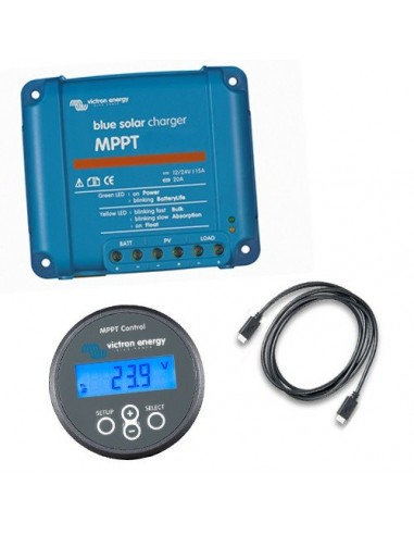 Set Regolatore di Carica MPPT BlueSolar 100/35 100VOC 35A + Display MPPT Control