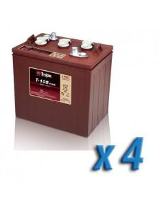 Pacco Batteria 24V Fotovoltaico Accumulo 4 x T-105 225Ah 6V Batterie Trojan
