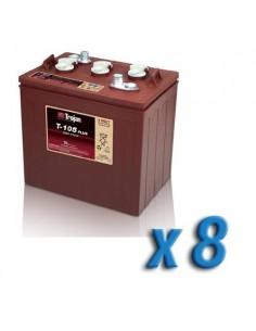 Pacco Batteria 48V Fotovoltaico Accumulo 8 x T-105 225Ah 6V Batterie Trojan