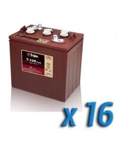 Pacco Batteria 96V Fotovoltaico Accumulo 16 x T-105 225Ah 6V Batterie Trojan