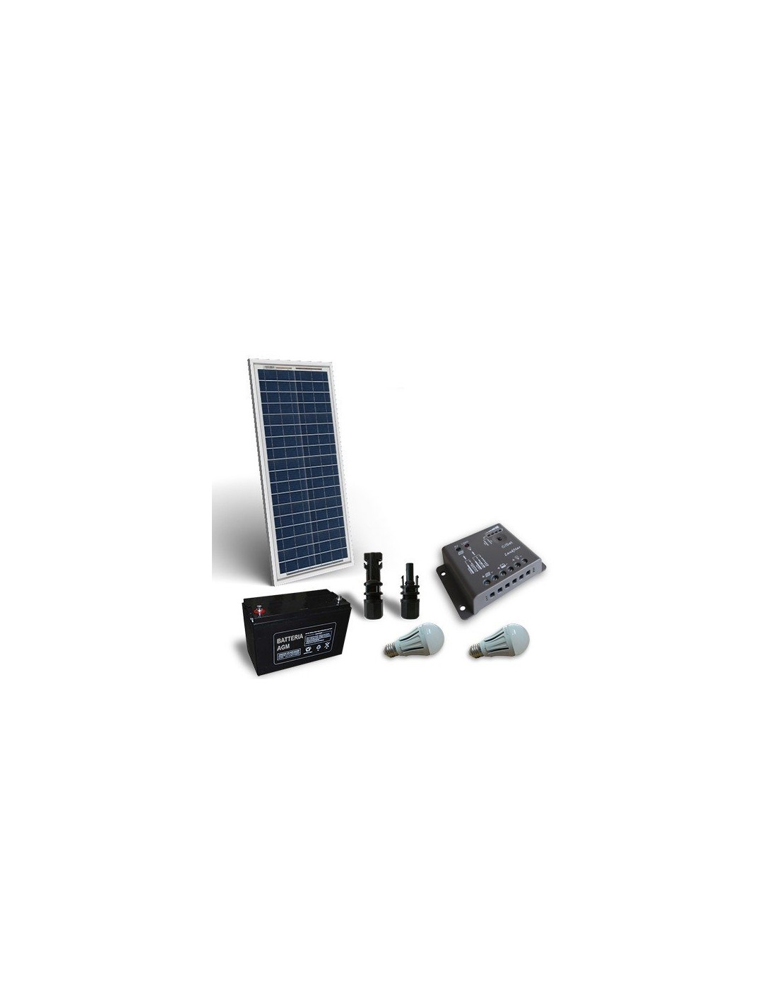Kit solare illuminazione led 30w 12v per interni fotovoltaico for Illuminazione per interni a led
