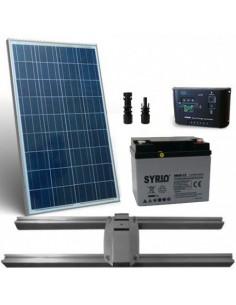Kit Solare Lux 80W Pannello Fotovoltaico Regolatore 10A Batteria 40Ah Testapalo