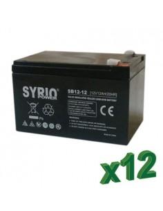 Set 12 x Batterie 12Ah 12V AGM Syrio Power Fotovoltaico camper veicoli elettrici