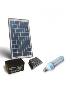 Kit Solare Illuminazione Fluo 10W 12V per Interni Fotovoltaico Batteria 12Ah 12V