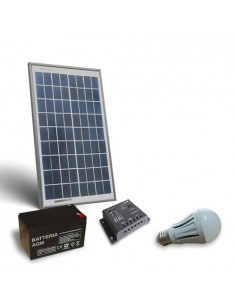 Kit Solare Illuminazione LED 10W 12V per Interni Fotovoltaico Batteria 12Ah 12V