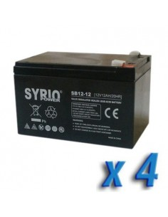 Set 4 x Batterie 12Ah 12V AGM Syrio Power Fotovoltaico camper veicoli elettrici