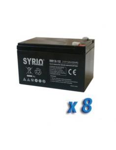 Set 8 x Batterie 12Ah 12V AGM Syrio Power Fotovoltaico camper veicoli elettrici