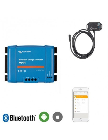 Set Regolatore di carica 100Voc 15Ah Bluesolar MPPT con Smart Dongle Bluetooth