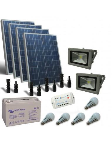 Kit Solare Illuminazione LED 400W 12V per Interni ed esterni Fotovoltaico