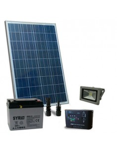 Kit Solare Illuminazione 80W 12V per Esterni 1xFaro LED 20W Batteria 40Ah