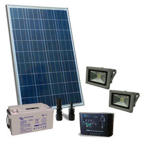 Kit d 39 clairage solaire 130w 12v ext rieur avec 2x phare for Eclairage solaire interieur
