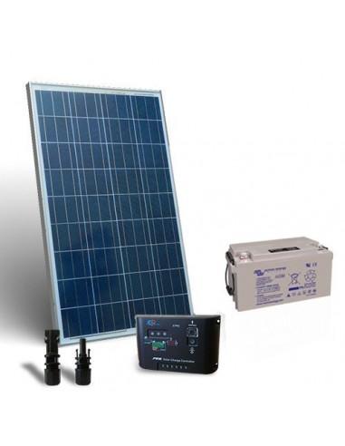 Kit Solare Pro 150W 12V Pannello Fotovoltaico Regolatore 10A-PWM 1xBatteria 80Ah