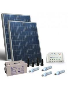 Kit Solare Illuminazione Fluo 160W 12V per Interni Fotovoltaico Batterie 110Ah