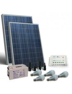 Kit Solare Illuminazione LED 160W 12V per Interni Fotovoltaico Batteria 110Ah