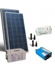 Kit solare baita 160W 12V Base pannello regolatore inverter batteria 110Ah