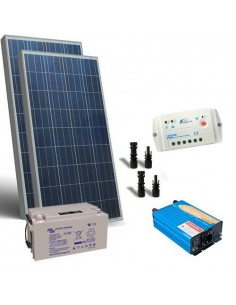 Kit Chalet 200W 12V Base Panneau Solaire Regulateur Onduleur Batterie 110Ah