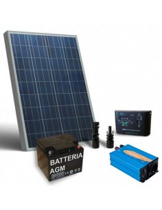 Kit solare baita 100W 12V Base pannello regolatore inverter batteria 80Ah
