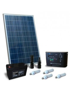 Kit Solare Illuminazione Fluo 100W 12V per Interni Fotovoltaico batteria 80Ah